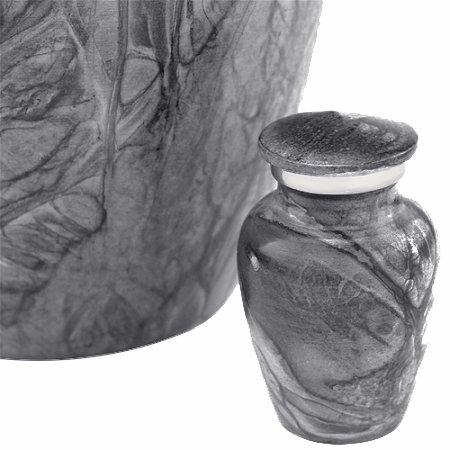 Silverlight Urns Dark Blue Harbor Keepsake Urn, Mini Urn, Gray Aluminum Urn for Ashes, 3 Inches High