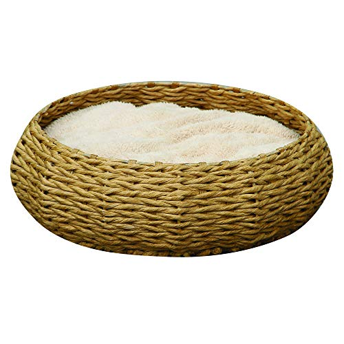 Round paper rope bed w/Pillow - PetPals  Paper Rope Round Bed, 8 x 8 x 11