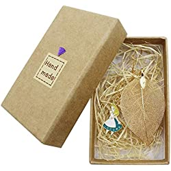 Aimeio Cute Leaf Vein Bookmarks with Rabbit Alice Pendant for School Supplies,Great Gift for Girl Boys Adult Book Marker,Gift Box