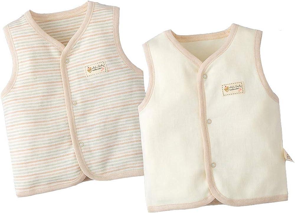 ThreeH Boys Girls Coat Cotton Unisex Baby Sleeveless Vest Lightweight Snap Button Soft Vest(Pack of 2) Beige