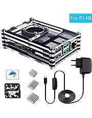 Bruphny Case per Raspberry Pi 4, Case con 5V 3A USB-C Alimentatore, Ventola di Raffreddamento e 3 Dissipatore per Raspberry Pi 4B / 4 Modello B (La Piastra Raspberry Pi Non è Inclusa)