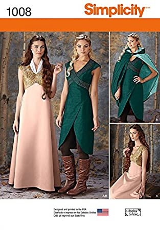 Simplicity Damen Schnittmuster 1008 Game of Thrones Stil Kleider ...