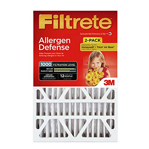 (Filtrete 16x25x4, AC Furnace Air Filter, MPR 1000 DP, Micro Allergen Defense Deep Pleat, 2-Pack)