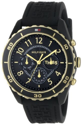 Tommy Hilfiger Women s 1781103 Sport Black and Gold Plated Silicon Watch
