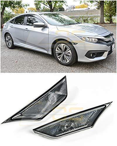 Extreme Online Store for 2016-Present Honda Civic Crystal Smoke Lens JDM Front Bumper Fender Reflector Side Marker Lights Turn Signal Lamps Pair