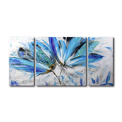 Flower Wall Art for Living Room 3 Piece 100% Hand Painted Abstract Oil Painting on Canvas Modern Large Framed Blue and White Floral Artwork Office Bedroom Decor (Blue Framed Wall)