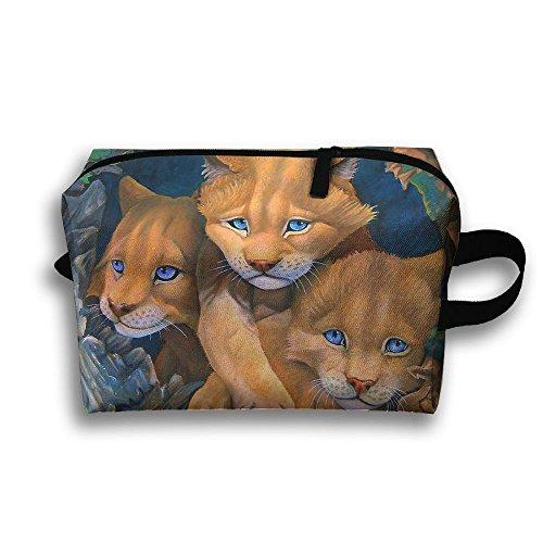 Lions Cubs Paintings Travel Bag Cosmetic Bags Brush Pouch Portable Makeup Bag Zipper Wallet Hangbag Pen Organizer Carry Case Wristlet Holder -