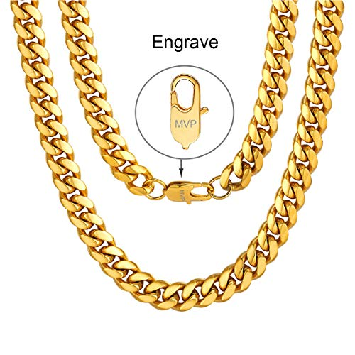 - Men Chain Gold Plated Engrave Name Necklace Stainless Steel Hiphop Rapper Jewelry