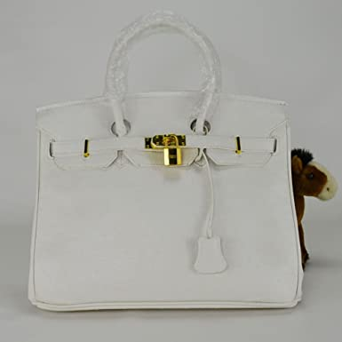 16d7519f2890 Faux Ostrich Skin Pattent Leather Birkin Inspired Tote Handbag with Gold  Metal Trim (White) (40cm)  Amazon.co.uk  Clothing