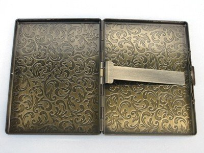 Glazed Black Cherry Steampunk Metal Fleur DE LIS Cigarette Case Slim Wallet Large Card Case ASS1 5