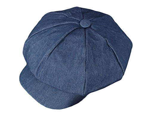 Denim Newsboy - Qunson Women's Washed Denim Newsboy Cabbie Hat Cap