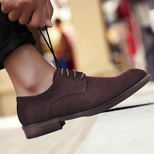 Swnx Hombre Formal Negocios Cordones Suede Con Eu43 Casual De Brown Zapatos Oxford eu43 Vestido xqgBa