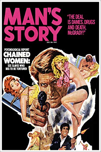 - Mans Story Chained Women Vintage Pulp Magazine Cover Retro Art Poster - 24x36