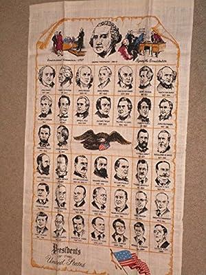 """Presidents of the United States Souvenir Linen Tea Towel 16"""" x 27"""" Washington through Bush"""