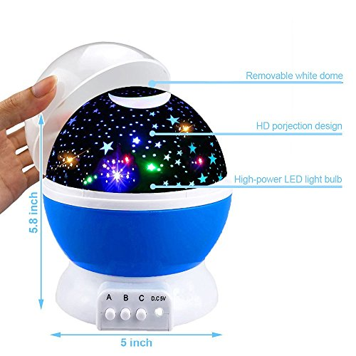 Toys for 2-10 Year Old Boys, Ouwen Star Rotating Night Light for Kids Toys for 2-10 Year Old Girls 2-10 Year Old Girls Gifts 2-10 Year Old Boys Gifts Blue OWUSNL001 by Ouwen (Image #4)