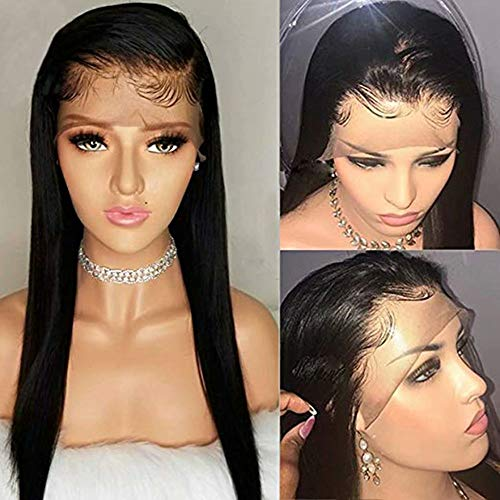 - Maxine 10A 100% Unprocessed Virgin Hair Lace Front Wig Brazilian Remy Human Hair Straight Hair Lace Wigs with Baby Hair For African Americans 150% Density Natural Color 12inch