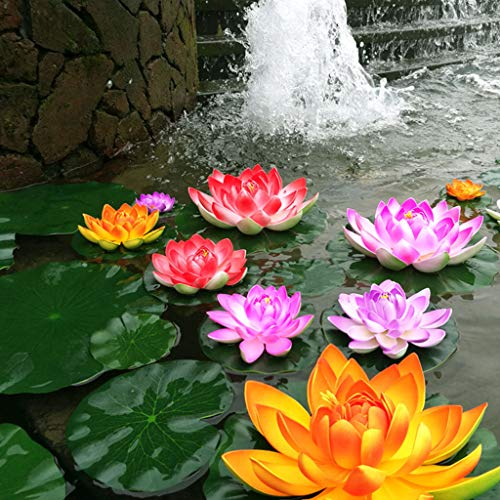 (MOSSUO Set of 8 Floating Pond Decor Water Lily/Artificial Foam Lotus Flower for Home Garden Pond Decor (Lotus Flower-6.7