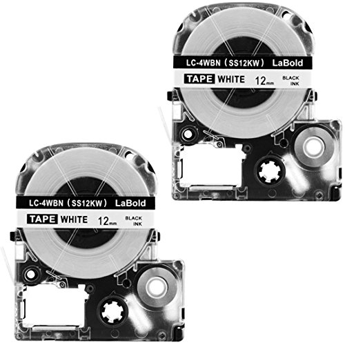 LK-4WBN Label Tape, LaBold 2 Pack Compatible Epson LabelWorks Label Maker Tape Cassette LC-4WBN (SS12KW) Black on White 1/2'' X 26.2'(12mm x 8M) READ COMMENTS IF YOU WORRY ABOUT LOW-SCALE REVIEWS! by LaBold