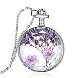 Mr Rabbit Illusion Purple Flowers Specimen Solid Glass Circular-shaped Pendant Nacklaces, Creative Design
