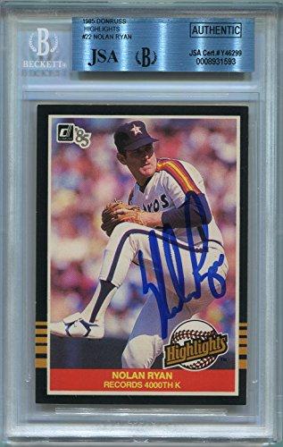 Donruss Card 1985 Autographed (Nolan Ryan Houston Astros BGS/JSA Certified Authentic Autograph - 1985 Donruss Highlights (Autographed Baseball Cards))