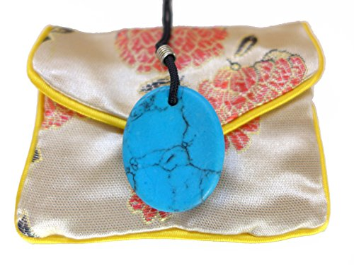 (Turquoise Worry Stone Pendant with Embroidered Brocade Pouch)