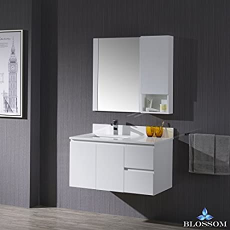BLOSSOM 000 36 01 L WH M Monaco 36 Wall Mount Left Vanity Set With Mirror And Wall Cabinet Matte White