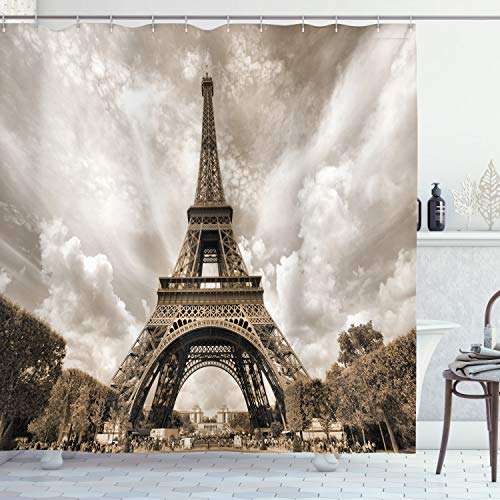 Ambesonne Paris Decorations Collection, Eiffel Tower UNESCO World Heritage Attraction Site France City Cityscape, Polyester Fabric Bathroom Shower Curtain Set with Hooks, Khaki Beige