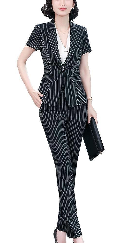 Black1209 SUSIELADY Women's 2 Pieces Office Business Skirt Suit Set Work Slim Blazer&Dress
