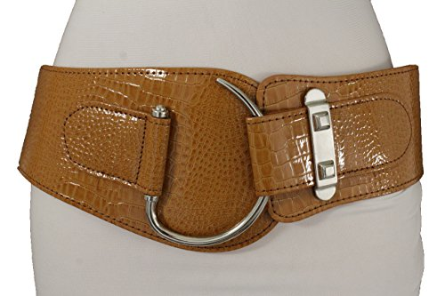TFJ Women Belt Hip Elastic Waistband Faux Leather Waist Hook Metal Buckle S M (Leopard Skin Belt)