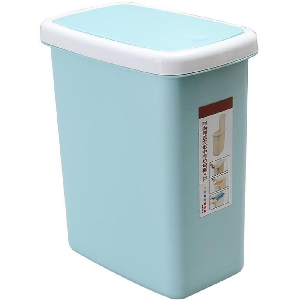 yugdsimbプラスチック長方形押しシェルカバーTrash缶10l 10l ブルー 9471894548953 B073PRZHTV ライトブルー 10l