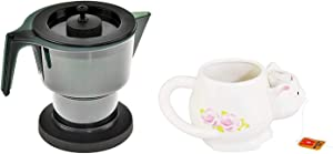 HOME-X Microwave Tea Kettle With Lid and Insert, Plastic Teapot for Hot Drinks, Christmas Gift, 1.2 Liters and Novelty Ceramic Coffee Mug with Cat Sculpture for Office, Home or Kitchen 12 Oz Capacity
