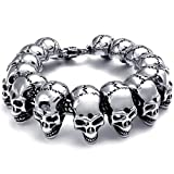 Best Bracelets With Skulls - Elove Jewelry Large Gothic Skull Biker Stainless Steel Review