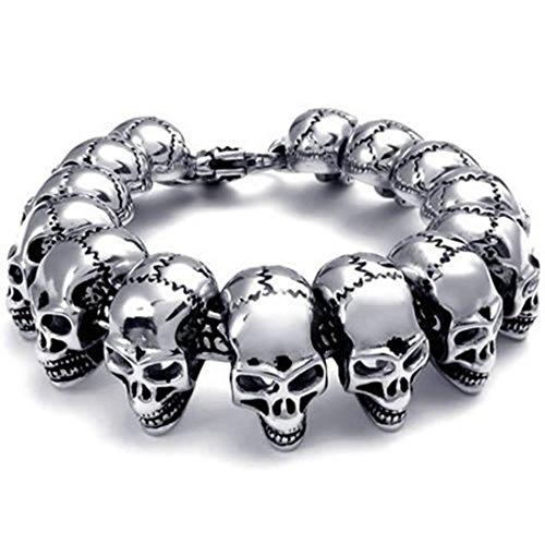 Elove Jewelry Large Gothic Skull Biker Stainless Steel Mens Bracelet