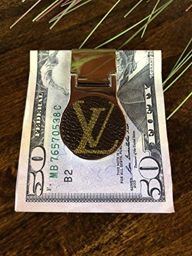 Chrome money clip fashioned with hand applied repurposed Louis Vuitton canvas