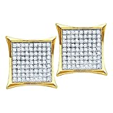 10k Gold Kite Earrings 0.15cttw Diamond Mens Earrings Large 9mm Wide Screw Back(i3/j/k)