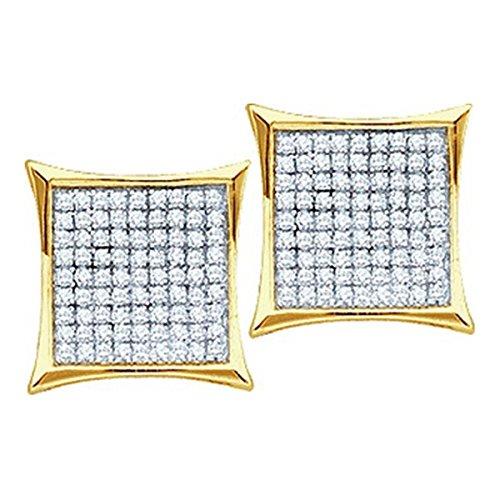Earrings Diamond Big (10k Gold Kite Earrings 0.15cttw Diamond Mens Earrings Large 9mm Wide Screw Back(i3/j/k))