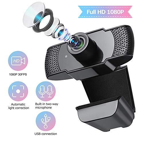 🥇 ELTD Webcam Cámara USB HD 1080P para videollamadas