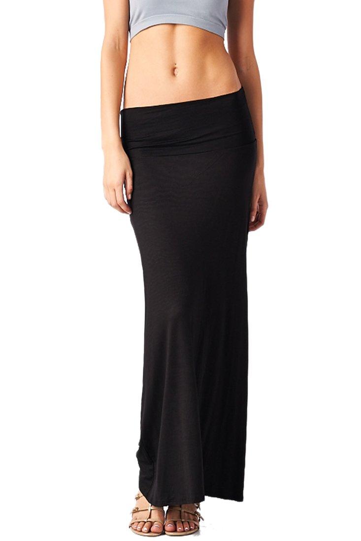 82S-9001RS-BLK Women'S Rayon Span Regular To Plus Basic Maxi Skirt - Black S