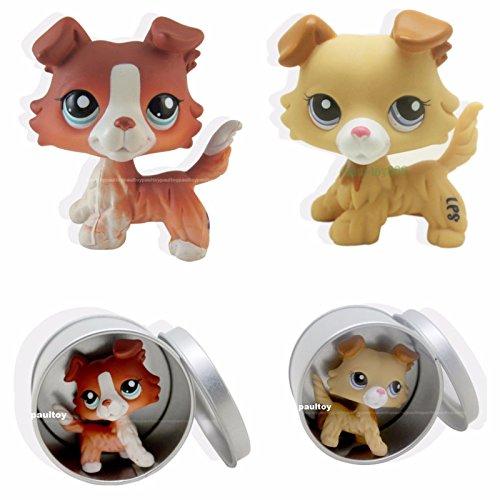TONGROU 2pcs #2452 #1542 Littlest Pet Shop Brown Collie Dog Puppy LPS Rare Toy