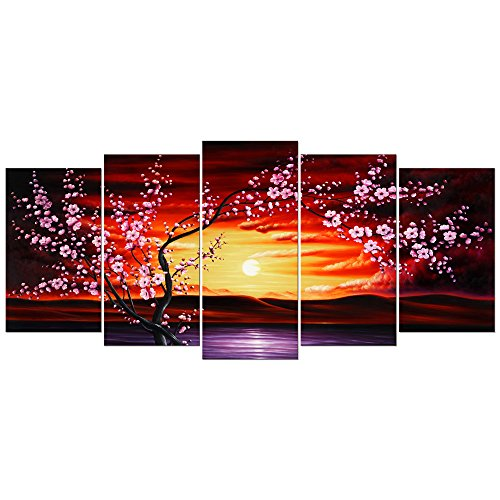Wieco Art Plum Tree Blossom Large Size 5 Panels Modern Giclee Canvas Prints Flowers Artwork Contemporary Floral Pictures Paintings on Canvas Wall Art Decor for Living Room Bedroom ()