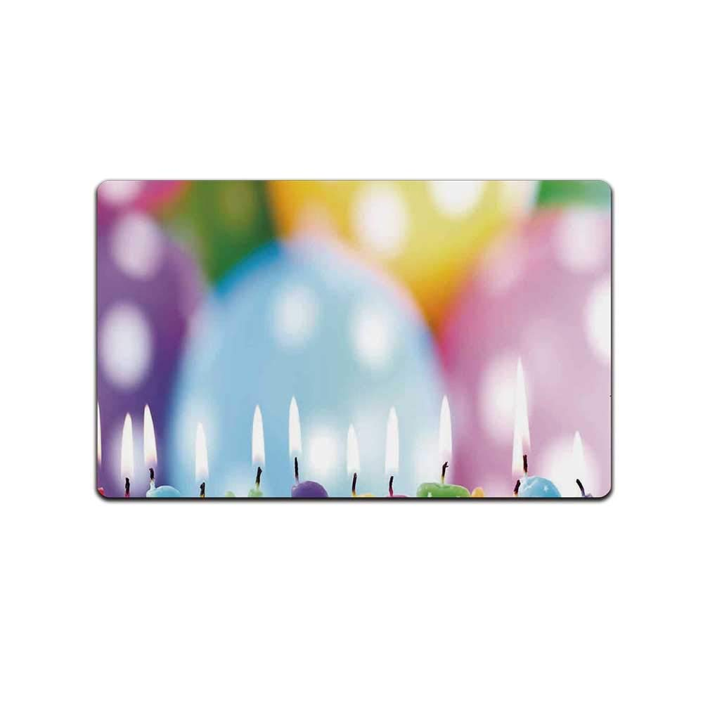 YOLIYANA Birthday Decorations for Kids Doormat,Colorful Candles on Party Cake with Abstract Blurry Backdrop for Kitchen,31'' Lx19 W