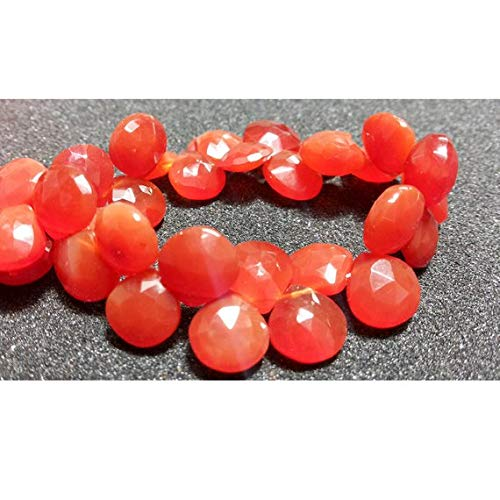 Gems World Beautiful Jewelry Carnelian Briolette Beads, Faceted Carnelian, Heart Briolettes, 10x10mm Beads, 4 Inch ()