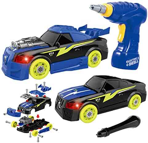 GILOBABY Take Apart Racing Car, STEM Toys 26 Pieces Assembly Car Toys with Drill Tool, Lights and Sounds, Christmas Gifts for Kids