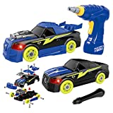 Maxxrace DIY Take Apart Toy Racing Car Set, 2 in 1 Build Your Own Car Construction Toys with Light and Sound, 26 Pieces Assemble Toys Car with Tool Drill , Gifts STEM Toys for 3 Years Olds Boys Girls Kids