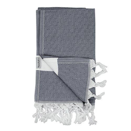 The Riviera Towel Cotton Diamond Print Turkish Towel, Dark - York Macy New In