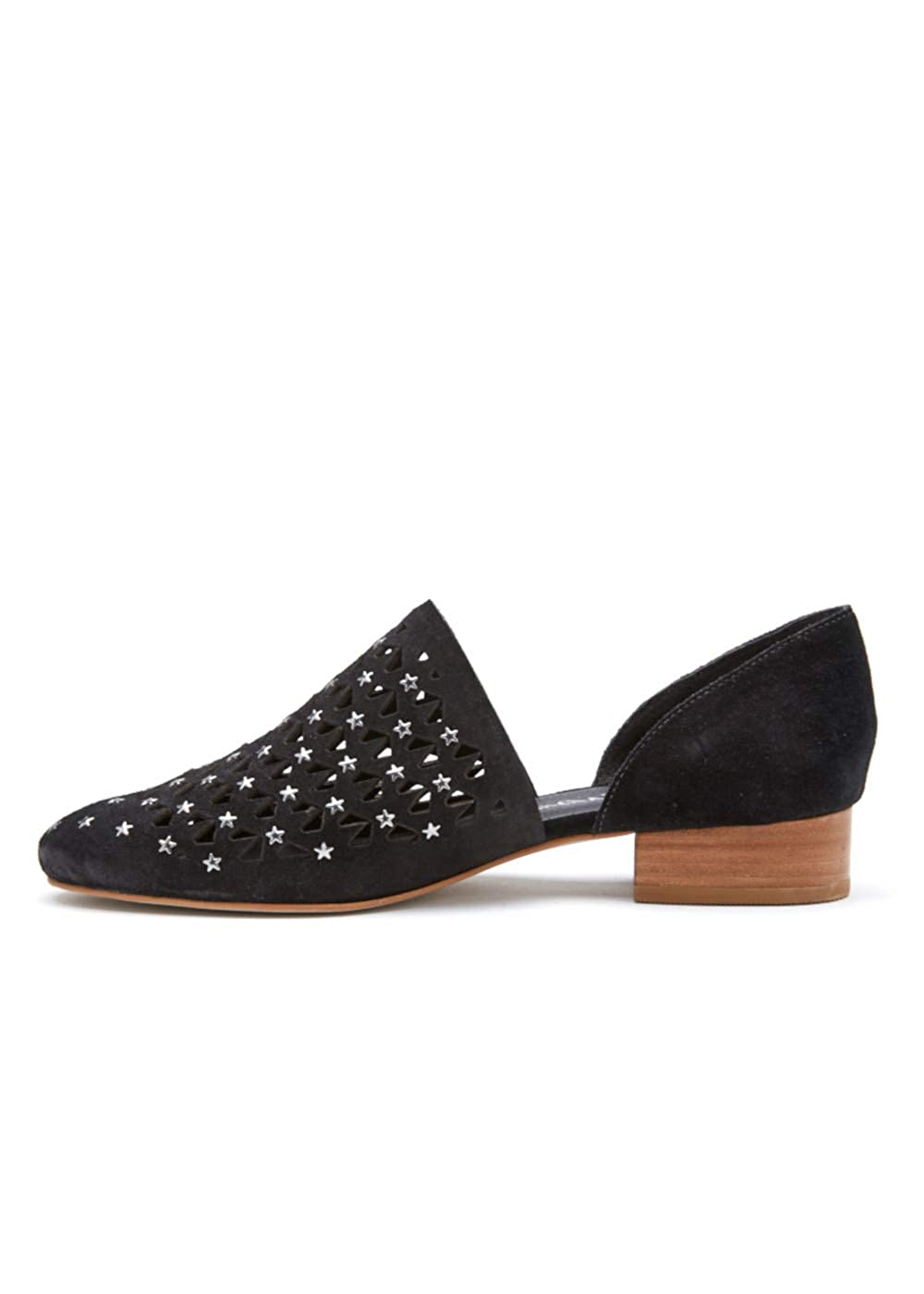 Matisse Womens Constellation Black Leather Star Studded Flats