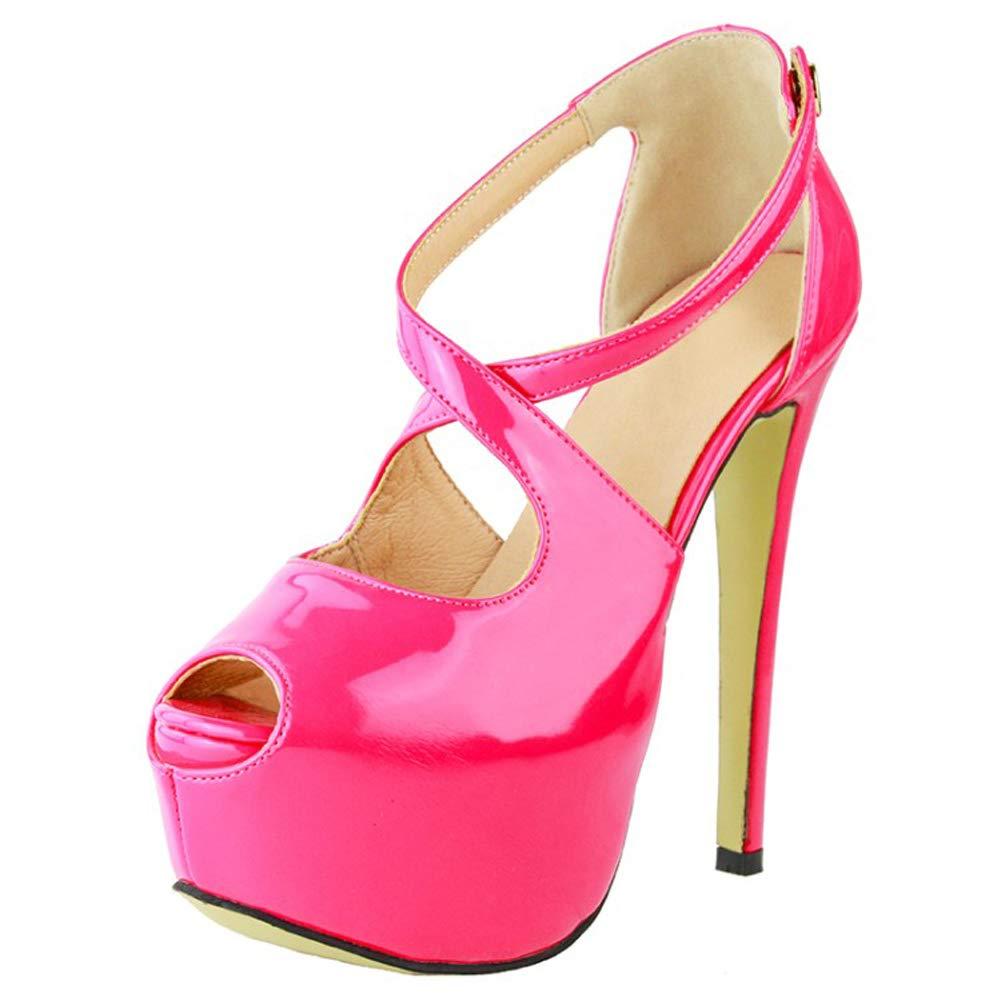Kolnoo Damen High Heel Pumps Crosscross Lackleder Peep-Toe Einfache Casual Sandale Schuhe