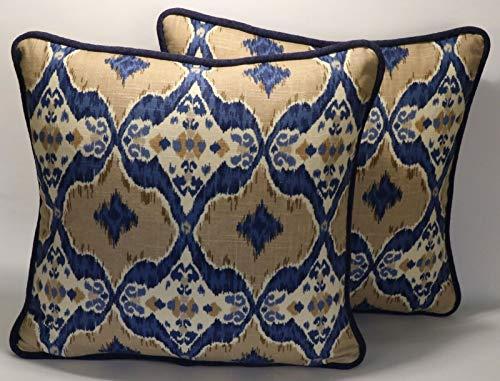 "A set of 2 18"" Ikat Blue and Tan Handmade Decorative Throw Pillow Covers"
