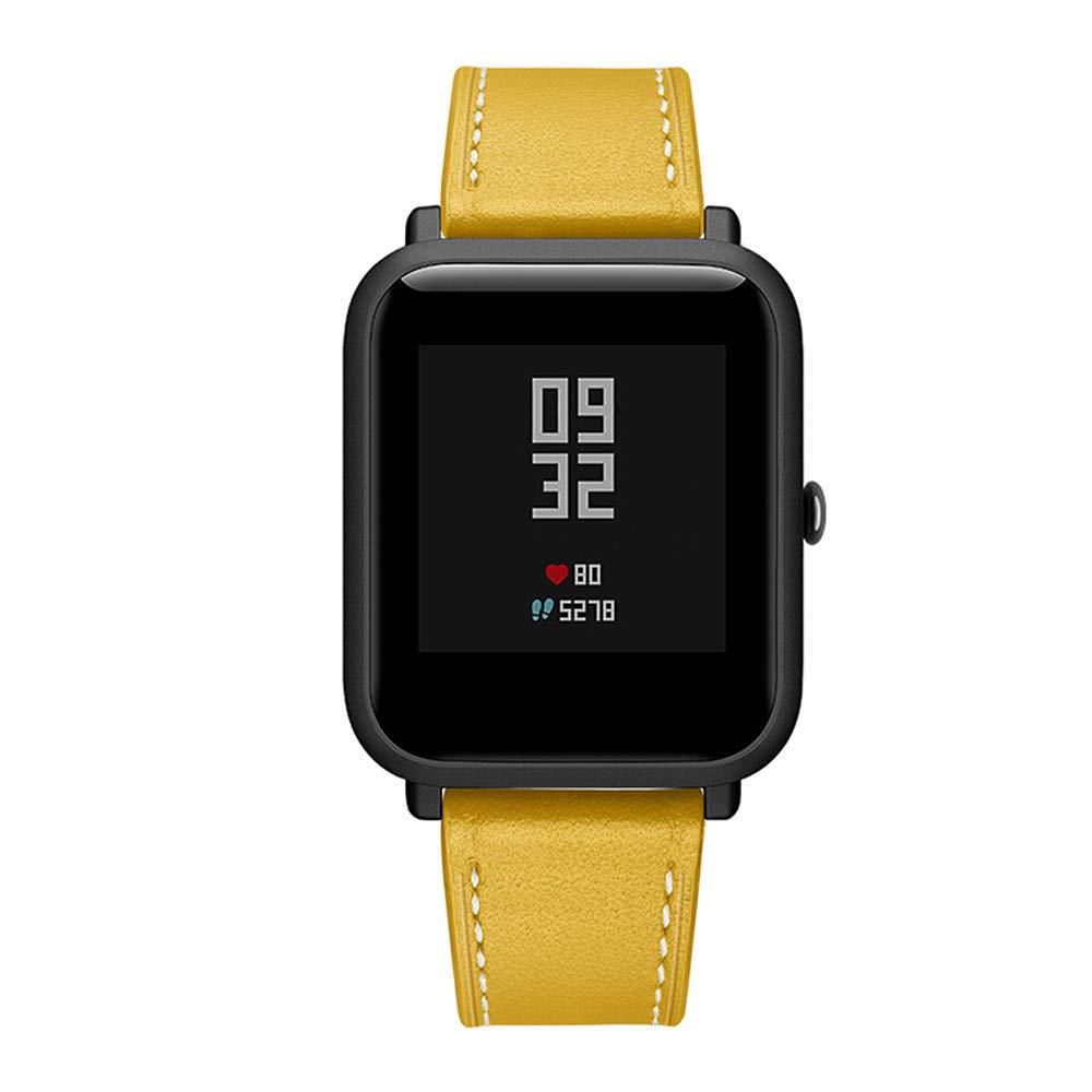 Correa de Reloj Reemplazo, YpingLonk Cuero Retro para Xiaomi Huami Amazfit Bip Youth Watch Moda Pulsera Banda Relojes Clásico Essential Casual Edición ...