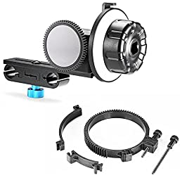 Neewer Follow Focus CN-90F with Gear Ring Belt for DSLR Cameras of 65mm-103mm Lens Diameter Such as Nikon,Canon,Sony DV/Camcorder/Film/Video Cameras,Fits 15mm Rod Mounts,Shoulder Supports